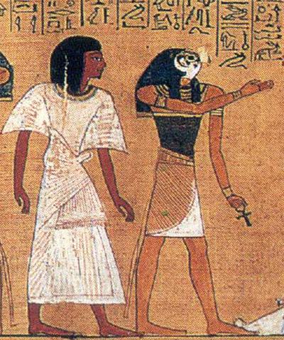 Hunefer conduit devant Osiris